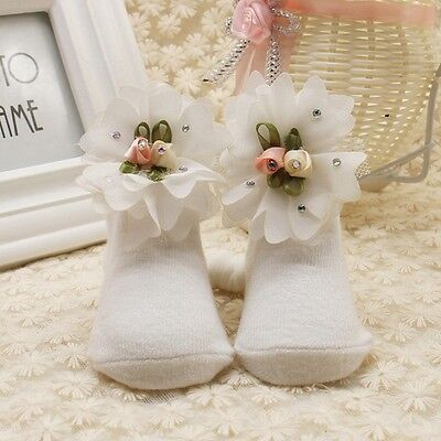 Cute Infant Newborn Baby Girl Soft Soft Lace Flowers Toddler Cotton Sock Shoes