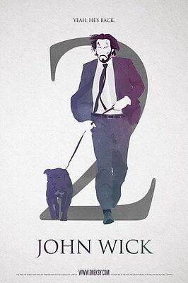 """002 John Wick Chapter 2 - Keanu Reeves 2017 Movie 14""""x21"""" Poster"""
