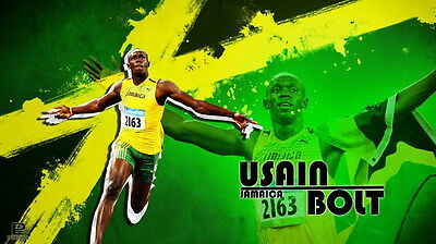 "002 Usain Bolt - 100 m Running Olympic Game Champion 42""x24"" Poster"