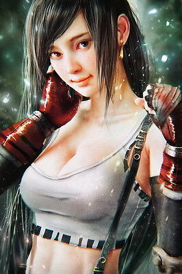 "099 Final Fantasy - Tifa Lockhart FF Lightning Face Girl TV Game 24""x36"" Poster"