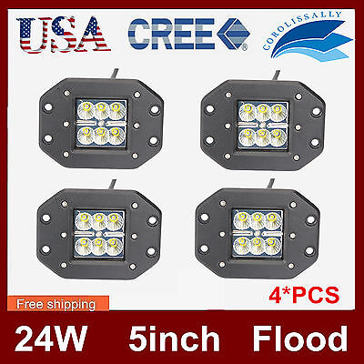 4X 5Inch 24W Flush Mount CREE LED Work Light Pod Flood Offroad Boat Truck VS 16W