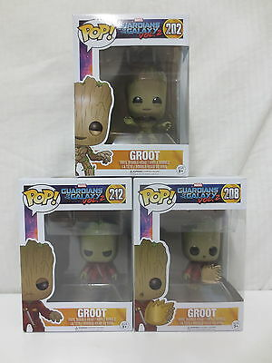 Funko Pop Vinyl Bundle - GROOT Guardians of the Galaxy Vol.2  - 202, 208, 212
