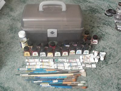 Bundle Of Artist Water Colour & Ink, Winsor & Newton + Brushes ,rowney/princeton