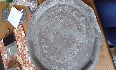 """Antique Copper islamic tray 17"""" across great patina"""