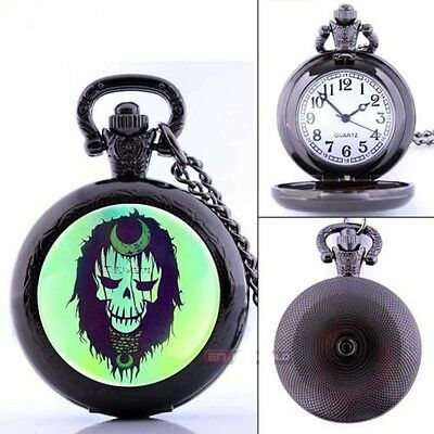 Witch Doctor Skull Steampunk Voodoo Ritual Black Pocket Watch Pendant Necklace