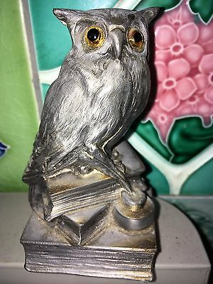 Rare Antique Vintage silver pewter OWL with GLASS EYES figurine figure ornament