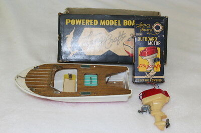 1950s vintage Lang Craft toy motor boat boxed + outboard motor boxed