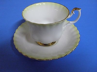 Royal Albert Bone China Tea Cup + Saucer Rainbow Yellow Gold