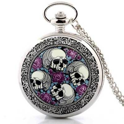 Gothic SKULLS & ROSES Punk Silver Tone Pocket Watch Pendant Necklace + Battery