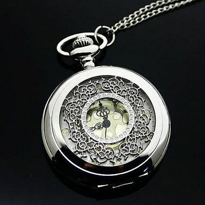 Beautiful Silver Filigree Gold Dial Pendant Pocket Watch Necklace Xmas Gift Idea