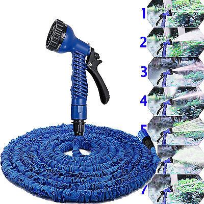 Expandable Flexible Garden Water Hose Pipe Expanding Fittings + Spray Gun Blue
