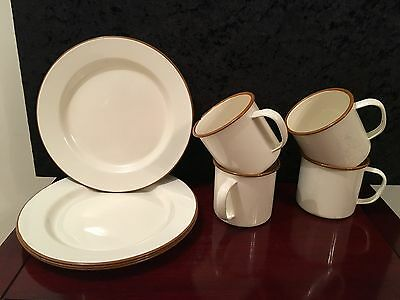 Vintage Enamel Plates and Cups Picnic /Camping/Home Cream & Brown Rim
