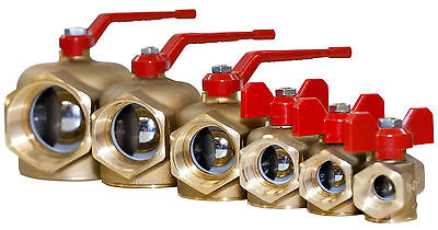 """Filtered Brass Ball Valve with Lever/T-handle; easy clean; 1/2"""" to 2"""""""
