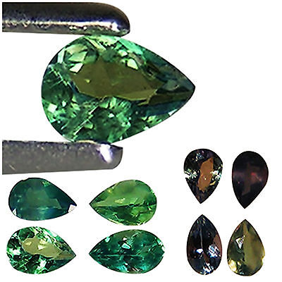 0.48 Ct / 4 PCS Unheated Natural Alexandrite Green To Brownish Purple Pear Cut