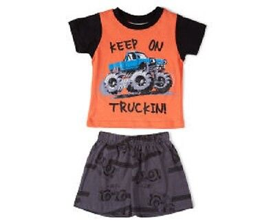 New  Keep On Trucking Monster Truck Baby Boys Cotton Pj Pyjamas Size 0