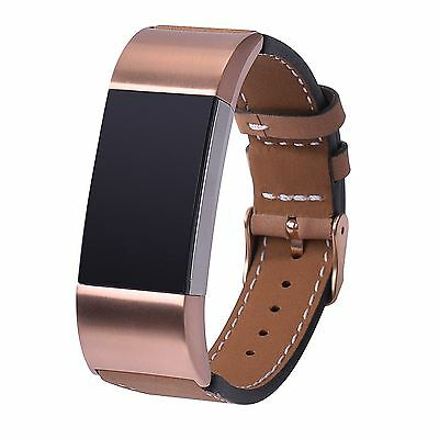 Genuine Leather Watch Band Strap Wristband Bracelet For Fitbit charge 2 Apricot