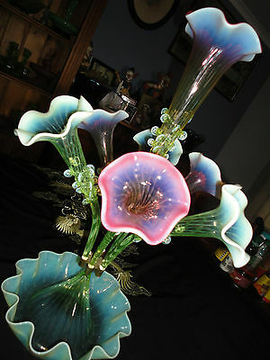 Big Rare Genuine Victorian Uranium Cranberry and Opalescent Glass Epergne 1800's