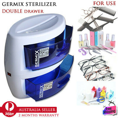 UV Tool Sterilizer Disinfection Double Cabinet Drawer Clean Beauty Salon Spa