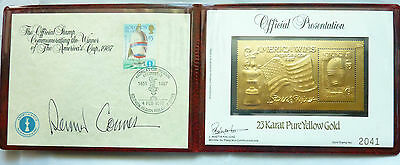 America's Cup Winner 23 K Gold Stamp 1987 Presentation Wallet with $5 Stamp