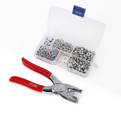 110 x9.5mm Pliers Prong Press Studs Open Ring Snaps Buttons Fasteners 7 Colors