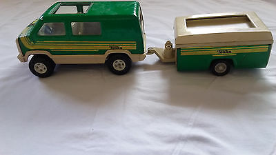 VINTAGE TONKA PRESSED METAL VAN & POP UP CAMPER TRAILER- 1970s