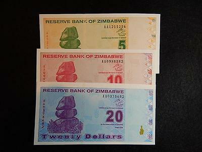 Zimbabwe 5, 10 And 20 Dollar Notes - Uncirculated