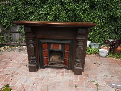 Antique Fire place with wood mantel