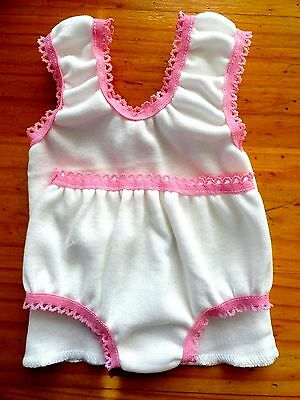 Baby Born Dolls Singlet Set White With Med Pink Elastic