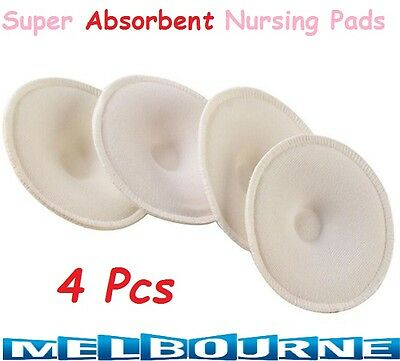 4 Pcs Super Absorbent Washable Breastfeeding Baby Reusable Nursing Pads Cotton #