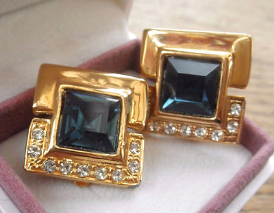 Vintage CLASSY GOLDEN & BLUE Glass STONE DIAMANTE Earrings CHUNKY clip on 1980's