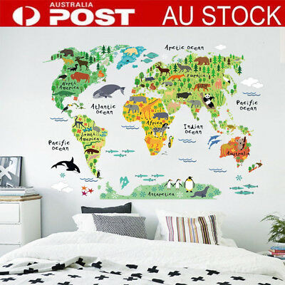 Big Animal World Map Wall Decals Removable Sticker Home Decor Kids Nursery Art B