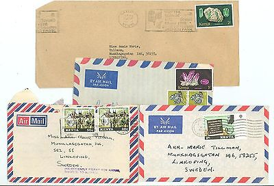 Kenya A40 4 Covers used 70s yrs Air Mail