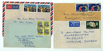 Kenya A65 4 Covers 70s yrs Air Mail used