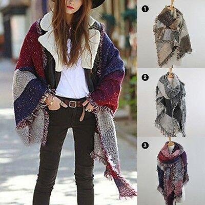 AU Soft Ladies Tassel Scarf Neck Wrap Long Shawl Women Girl Winter Warmer Snood