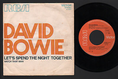 "7"" David Bowie Let's Spend The Night Together / Watch That Man Italy 1973 Stones"