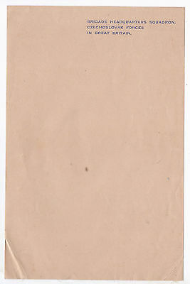 Wwii,  Czech Forces Headquarters (Brigade Squadron) Empty Mint Writing Paper