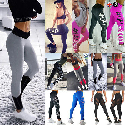 UK Women Yoga Pants Ladies Fitness Leggings Running Gym Exercise Sports Trousers