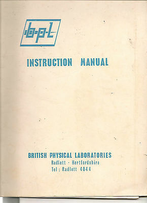 BPL Instruction manual Component comparator model CZ960 16 pages +circuits