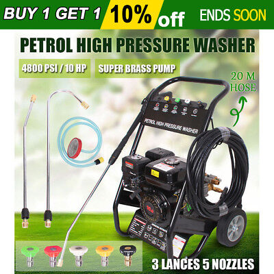 NEW Cleaner JET 10HP Petrol High Pressure Washer 4800 PSI Water Blaster Gurney
