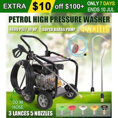 New JET 10HP Petrol High Pressure Washer 4800 PSI Water Blaster Gurney