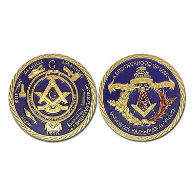FREEMASONRY MASONIC 1oz - 24ct GOLD PLATED COIN IN CASE. MINT CONDITION
