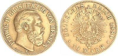 Hessen 10 Mark Gold 1880 H, Ludwig IV,ss