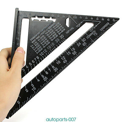 """7"""" Ruler Metric/Imperial system Aluminum Alloy Speed Square Roofing Triangle as0"""
