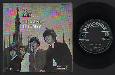 "7"" Beatles Long Tall Sally / She's A Woman 1965 Italy Green Parlophon Qmsp 16381"