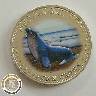 2011 Tristan da Cunha 1 Crown  Robben Seehund Seal Queen Farbmünze Color UK (553