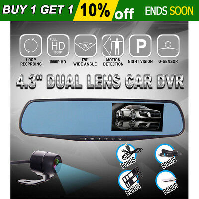 "1080P 4.3"" Dual Lens Car DVR Camera 170° Wide Dash Cam Reversing Video Recorder"