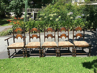 Set of 6 Magnificent Antique Tudor Oak Dining Chairs!