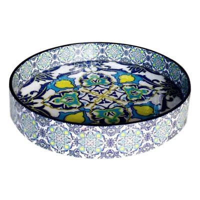 Lacquer Tray Round Serving Entertaining Wood Moroccan Pattern Blue White & Yello