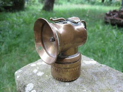 OLD C1915 BRASS JUSTRITE MINERS CARBIDE LAMP with PATENT NUMBERS