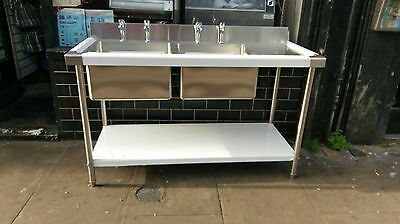 Stainless Steel Table With Double Bowl Sink